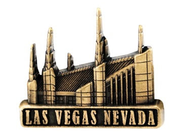 LDS Las Vegas Temple pin, antiqued gold finish - Zions Marketplace