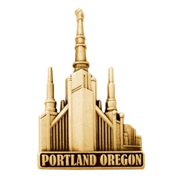 LDS Portland Temple pin, antiqued gold finish - Zions Marketplace