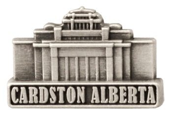 LDS Cardston Alberta Temple pin, antiqued silver finish - Zions Marketplace