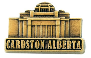 LDS Cardston Alberta Temple pin, antiqued gold finish - Zions Marketplace