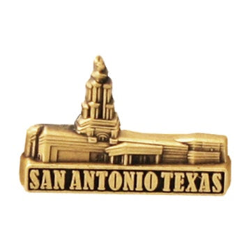 LDS San Antonio Temple pin, antiqued gold finish - Zions Marketplace
