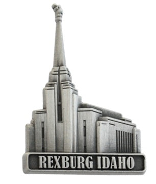 LDS Rexburg Temple pin, antiqued silver finish - Zions Marketplace