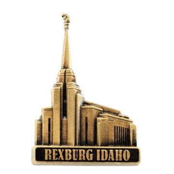 LDS Rexburg Temple pin, antiqued gold finish - Zions Marketplace