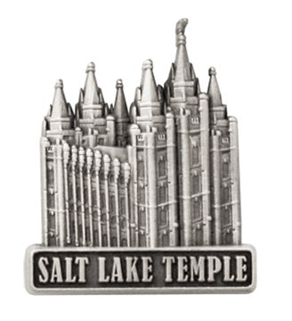 LDS Salt Lake Temple pin, antiqued silver finish - Zions Marketplace