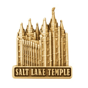LDS Salt Lake Temple pin, antiqued gold finish - Zions Marketplace