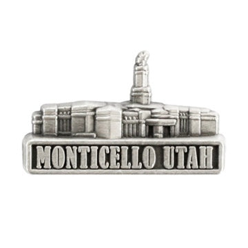 LDS Monticello Utah Temple Pin Silver - Zions Marketplace