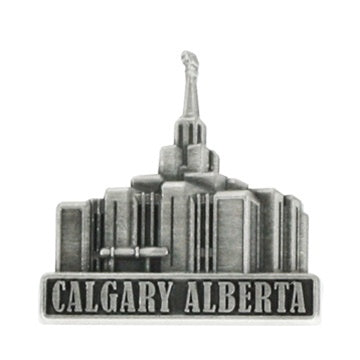 LDS Calgary Alberta Temple Pin Silver - Zions Marketplace