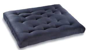 futon mattress in blue and black