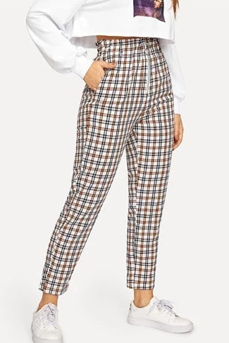 Cream Plaid Trousers