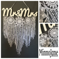 Mr & Mrs Doily Cluster Word Hanging