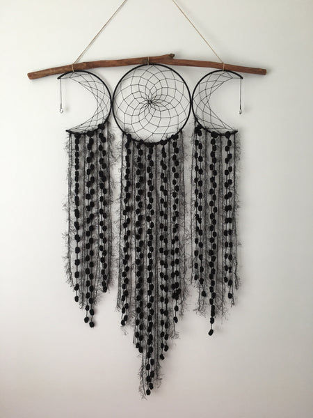 Moon Dreamcatcher Web Cluster Black