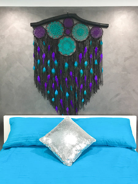 90cm Doily Cluster Black/Teal/Purple