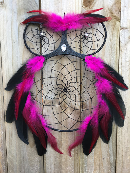 Owl Dreamcatcher Pink/Black