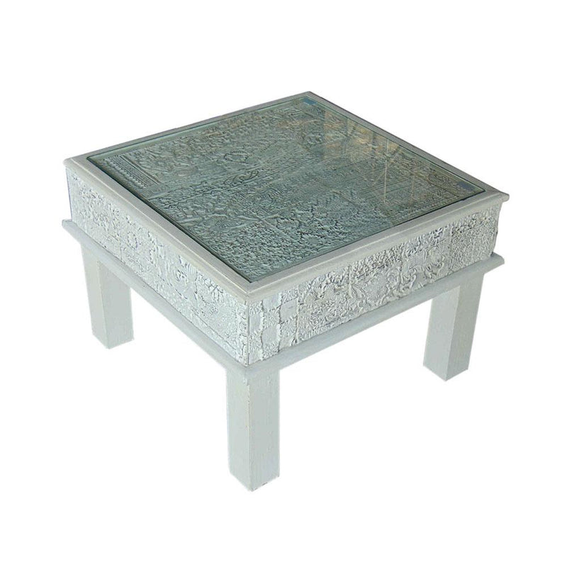 A Unique Block Print Sidetable Table with Glass Top