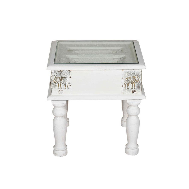 Wooden Sidetable with Elephant Brass Detail and Glass Top
