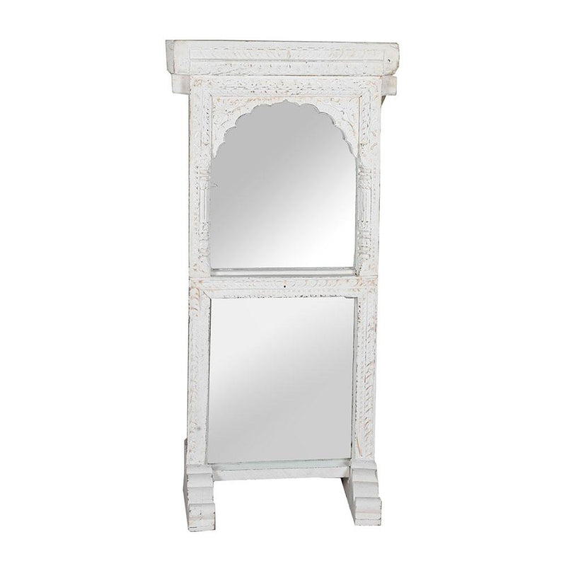 Hand Carved Mirror in White Distress