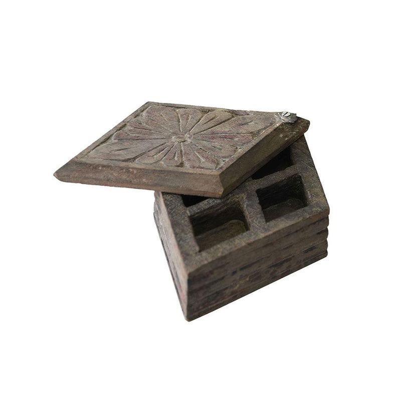 Wooden Carved Spice Box