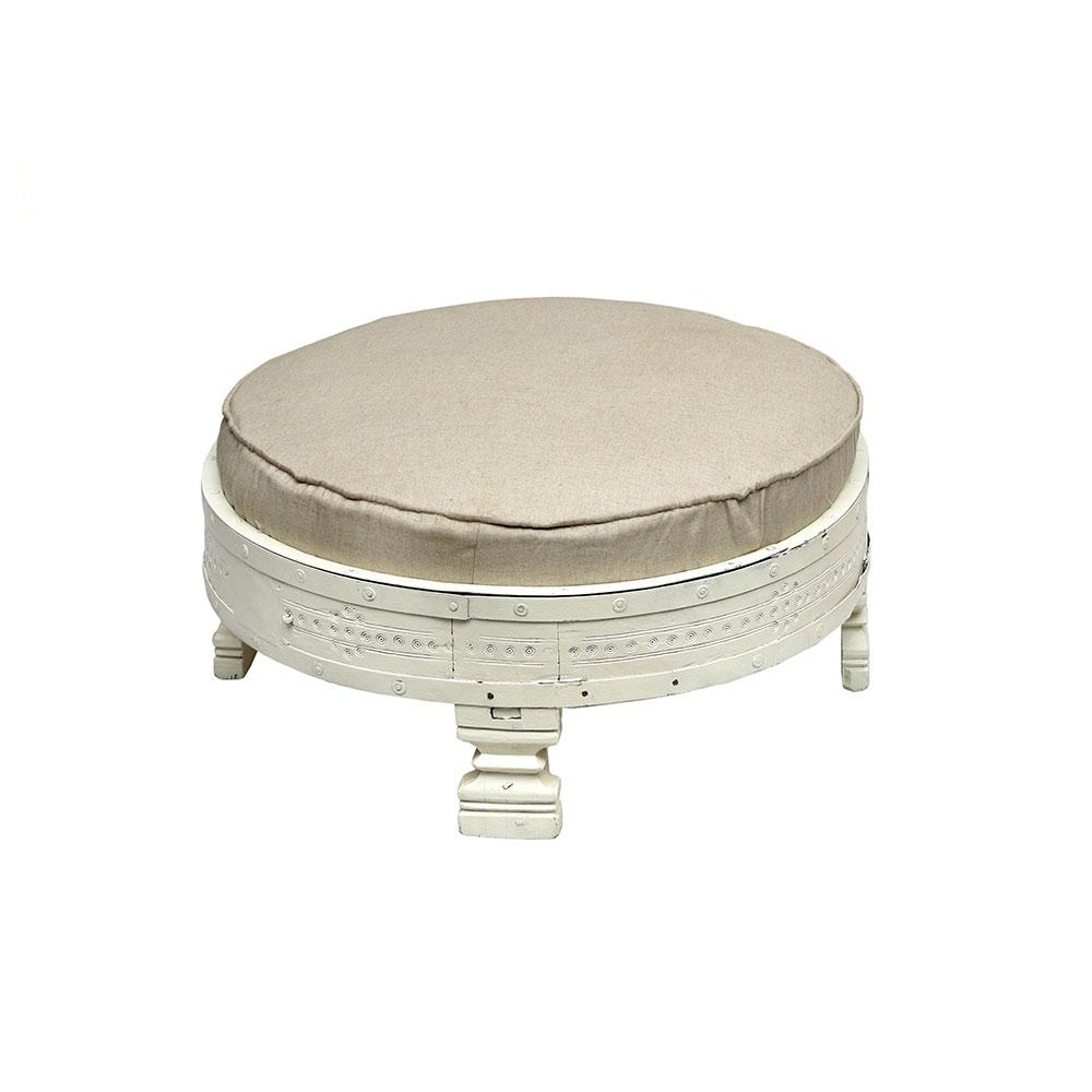 White Grinder Table with Cushion.