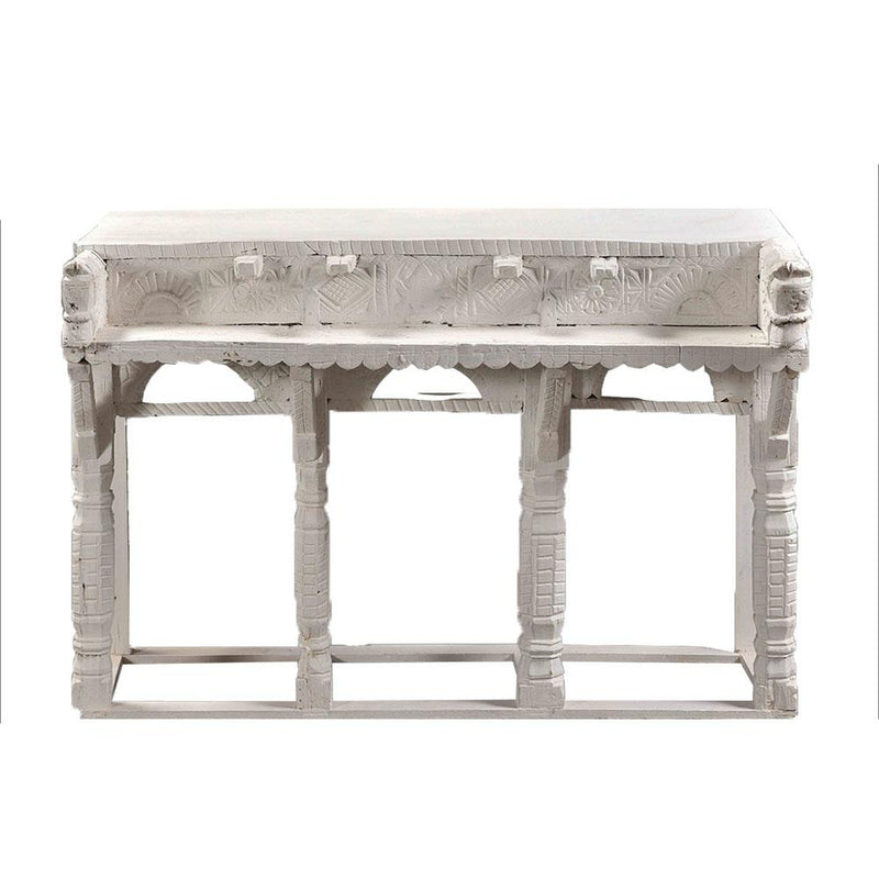 Wooden carved Indian Desk in White