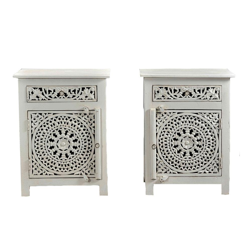 Carved Wooden Bedside Table- white