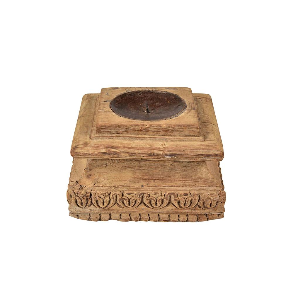 Old Carved Indian Pillar base Candle Holder
