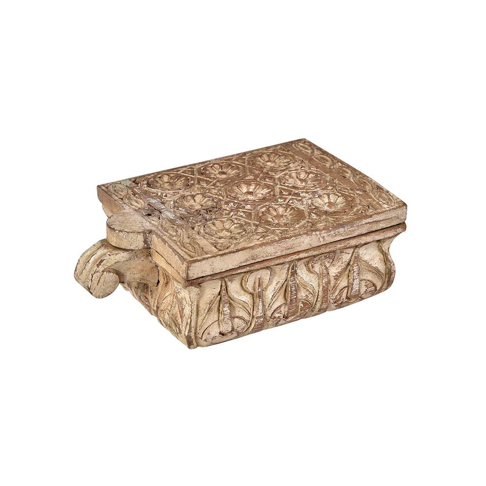 Hand carved Spice Box in Whitewash Finish