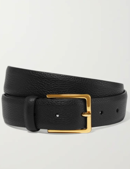 Womens Grained Leather Belt - Black