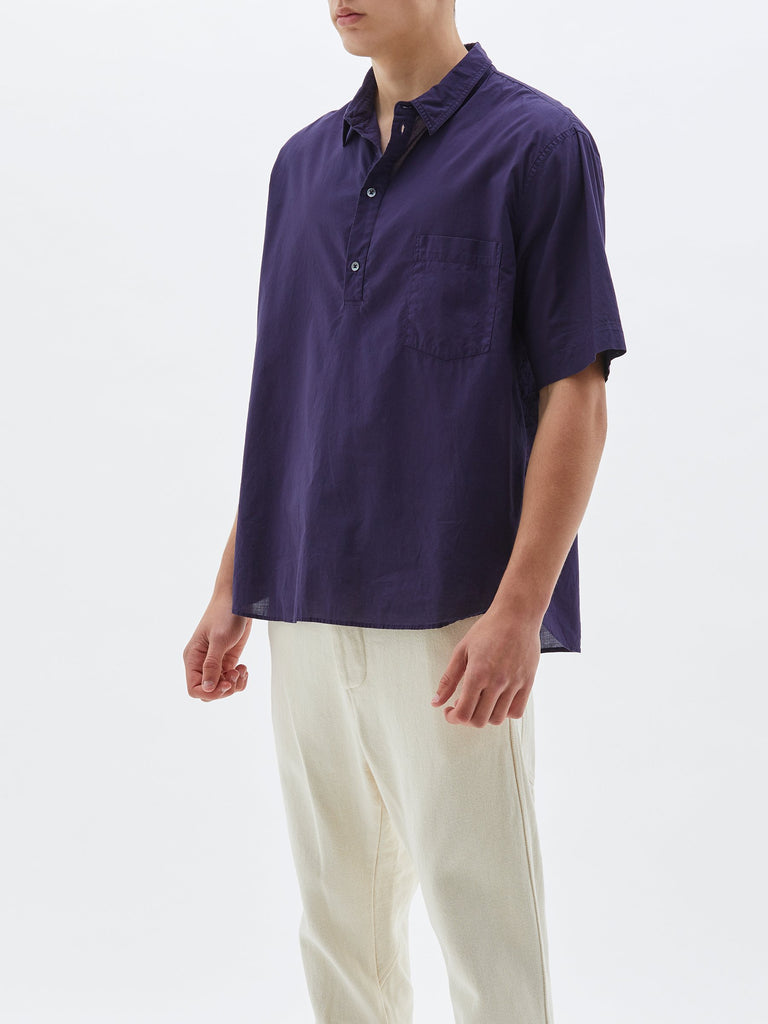 Half Button SS Beach Shirt - Navy