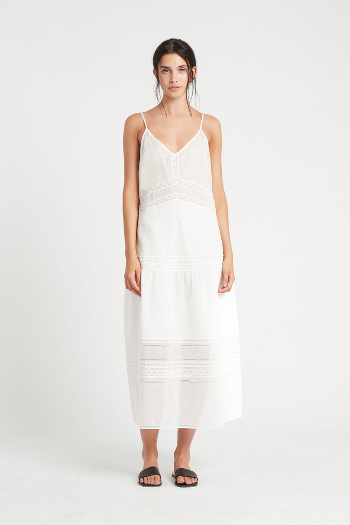Caprice Panelled Maxi Dress - Ivory