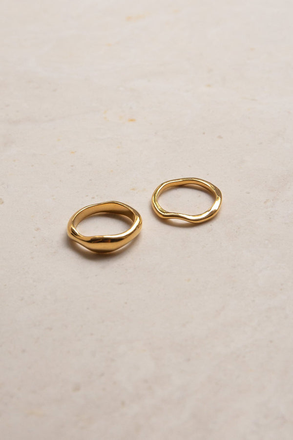 Waves Ring Set - 14K Vermeil