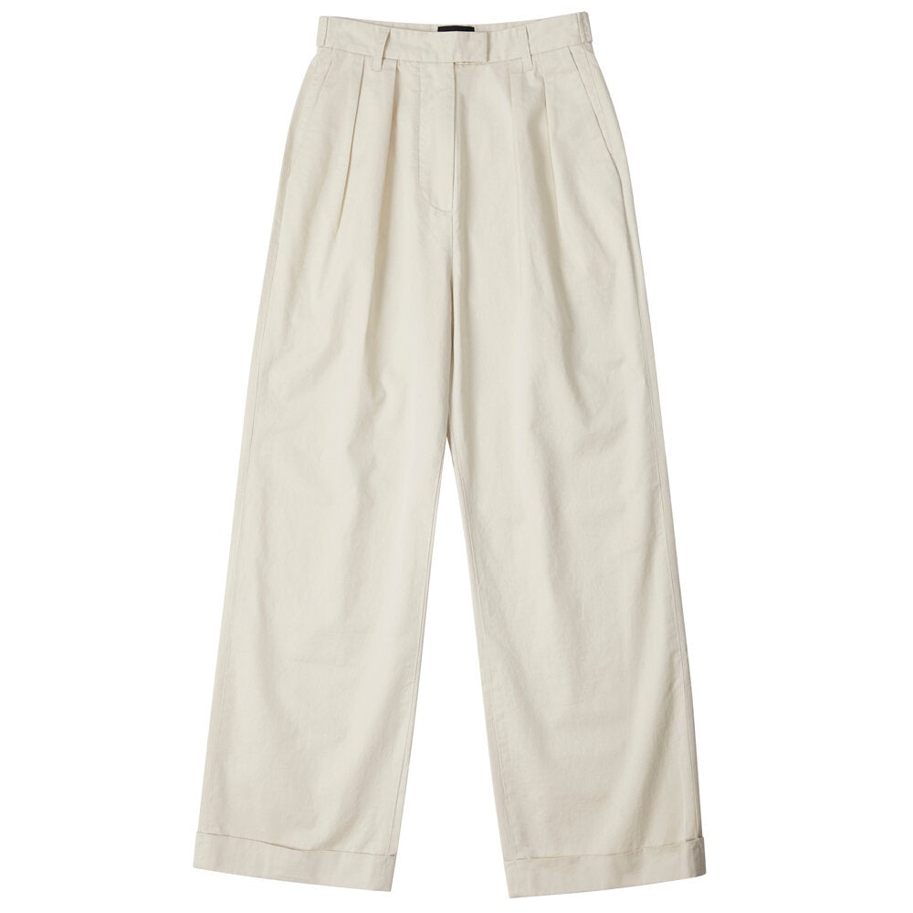 Womens Pleated Pant - Khaki Twill