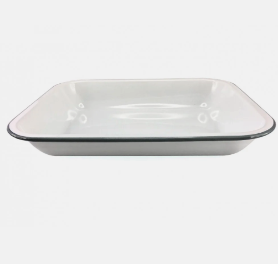 oblong bake pan - white/blue rim