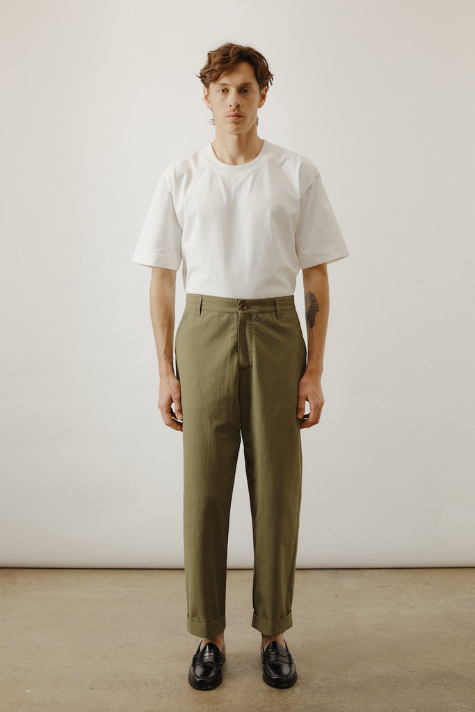 Relaxed Seersucker Suit Pant - Olive