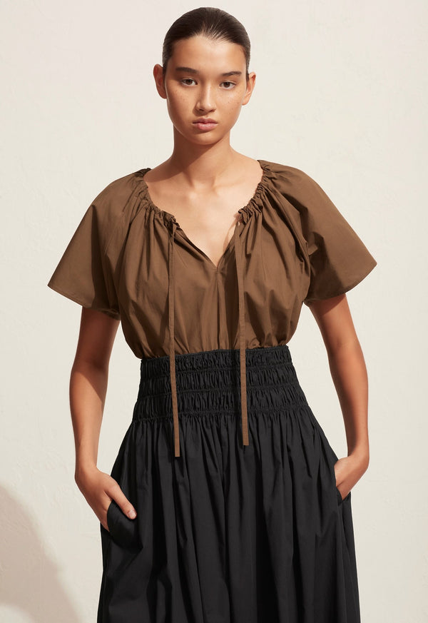 Drawcord Blouse - Pecan