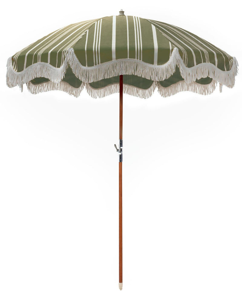 Premium Beach Umbrella - Vintage Green Stripe