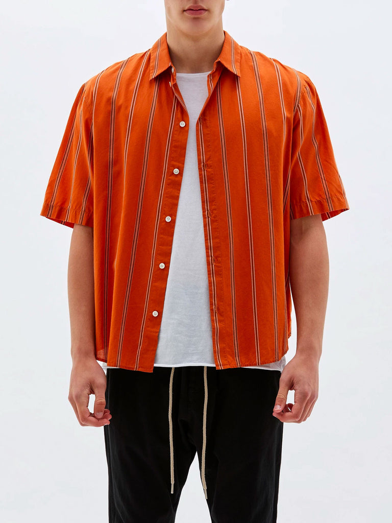 Stripe Cotton Silk SS Beach Shirt - Crimson