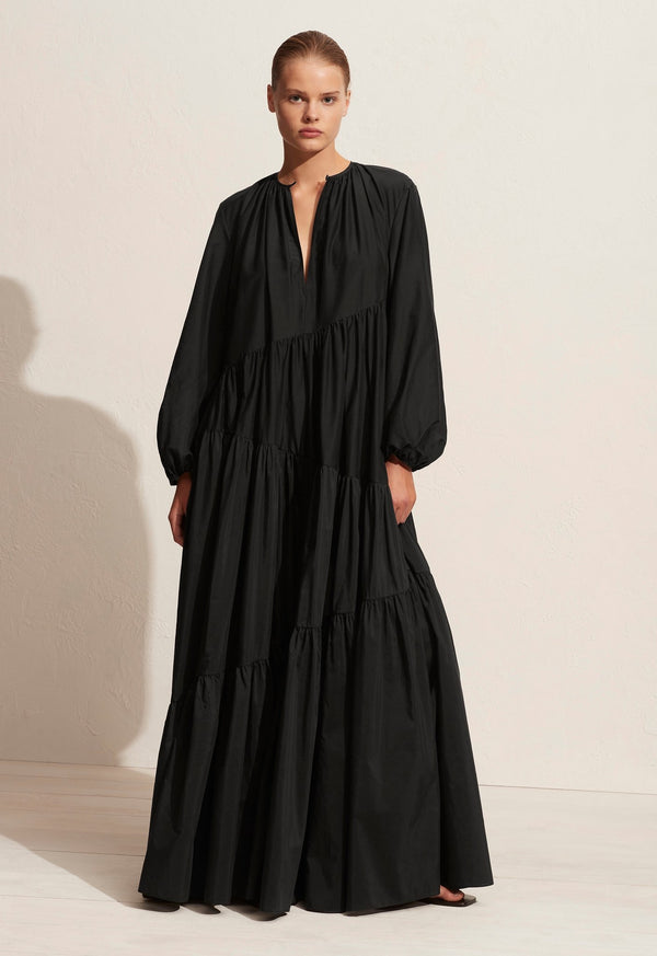 The Asymmetric Tiered Long Sleeve Dress - Black