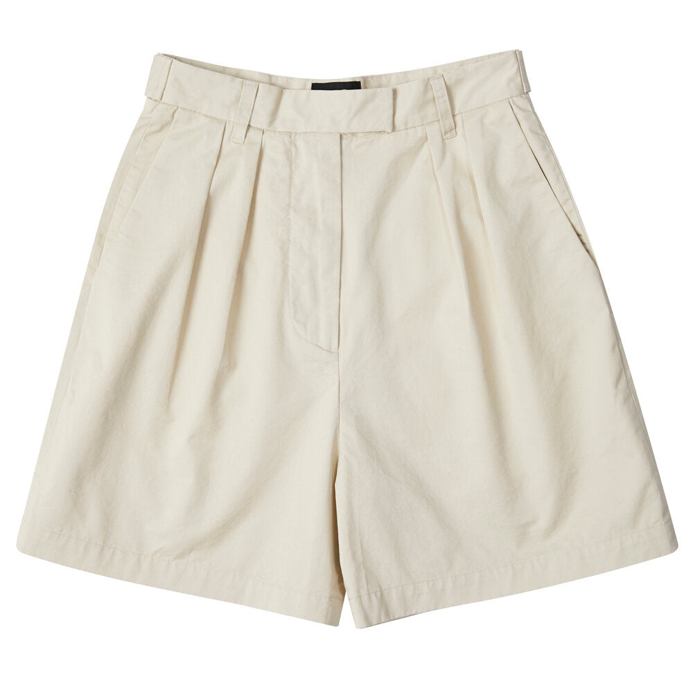 Womens Pleated Short - Khaki Twill