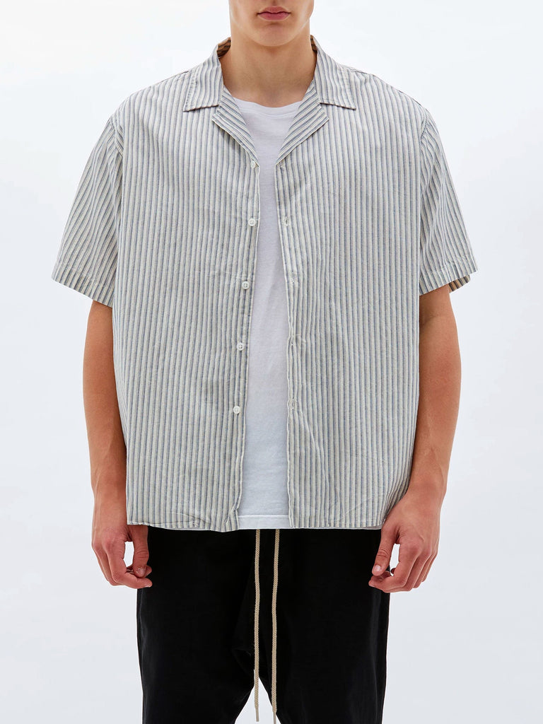 Stripe SS Linen Shirt - Blue Natural