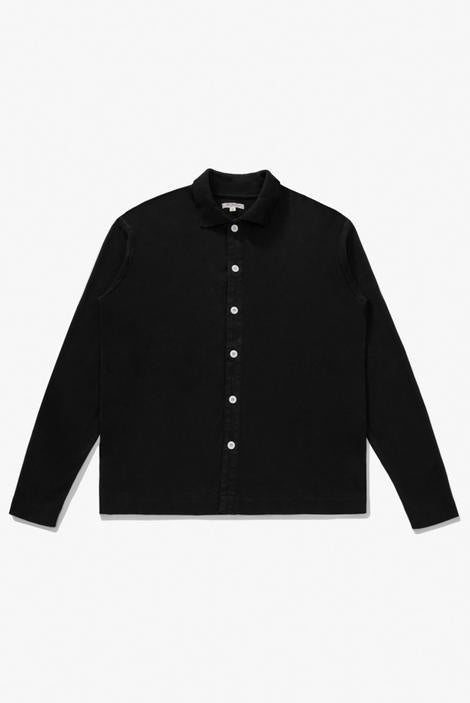 L/S Placket Polo - Black