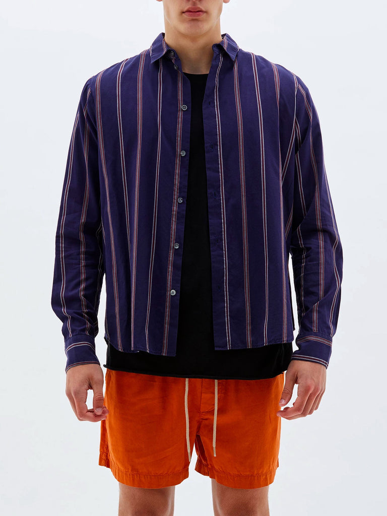 Stripe Cotton Silk Beach Shirt - Navy Stripe