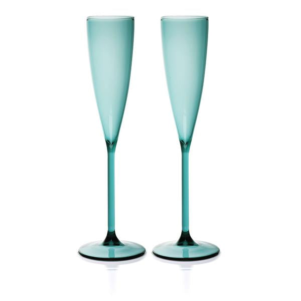 2 Champagne Flutes - Teal