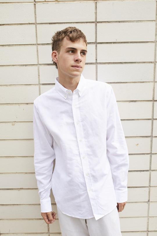 Everyday Men's Cotton/Linen Button Down Collar Shirt - White