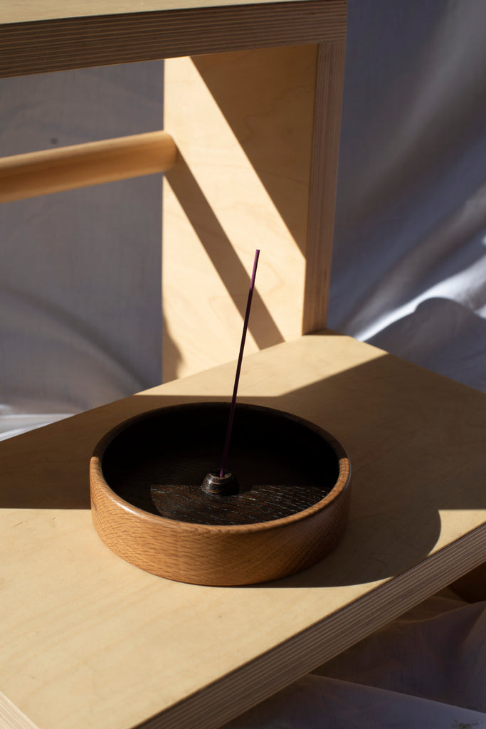wooden incense holder - japanese stained top on american oak
