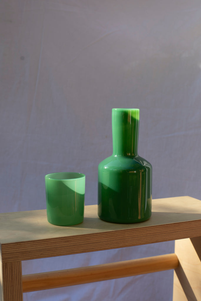 Carafe and Glass Set - Dark Green