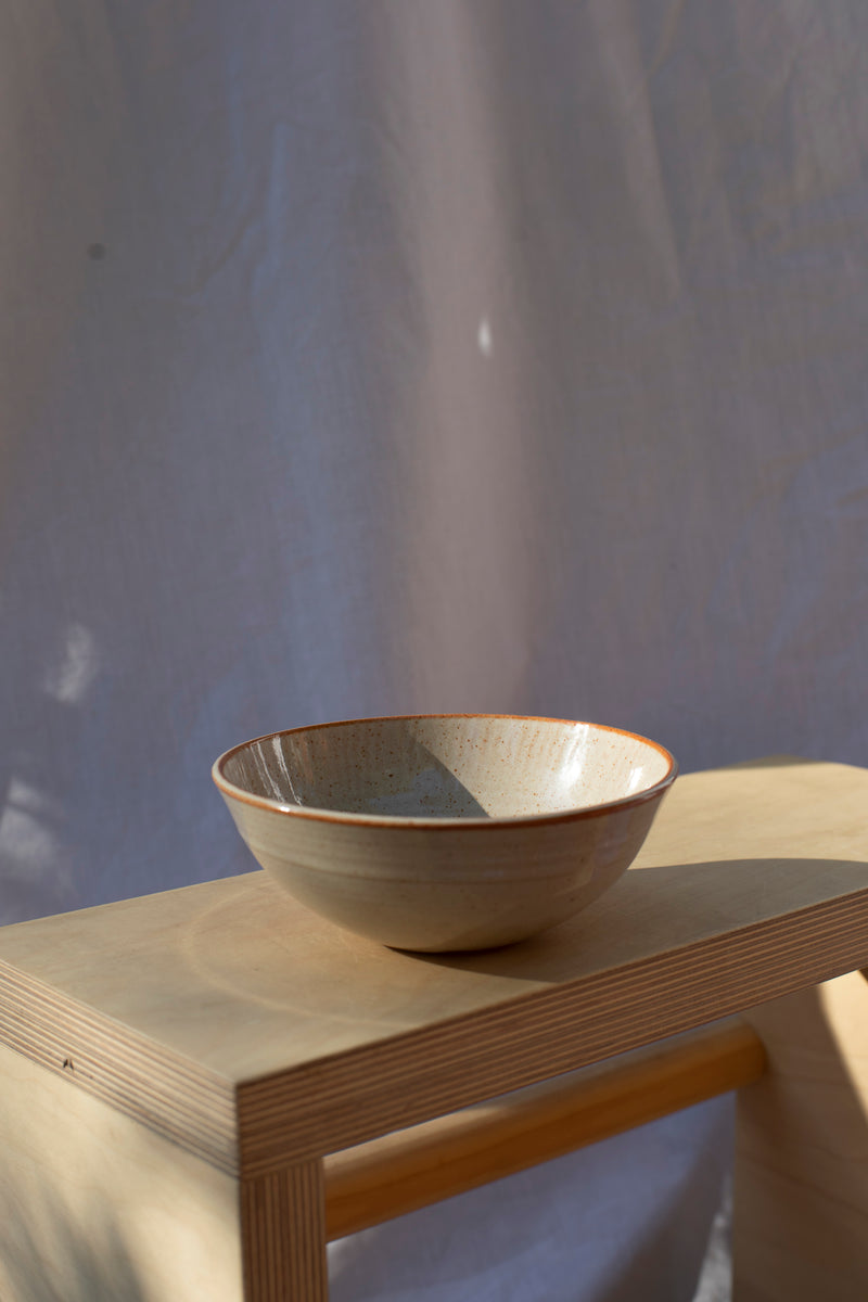 Ceramic Bowl - Stone/Rust