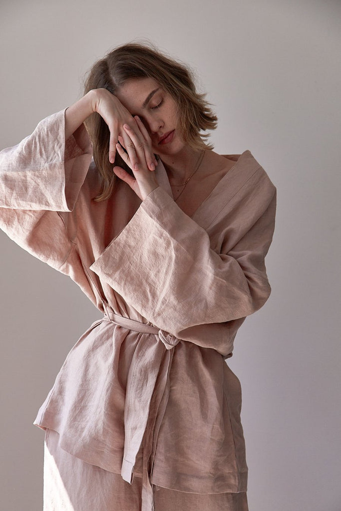 The 01 Loungewear Kimono Robe Top ONE SIZE - Clay Pink