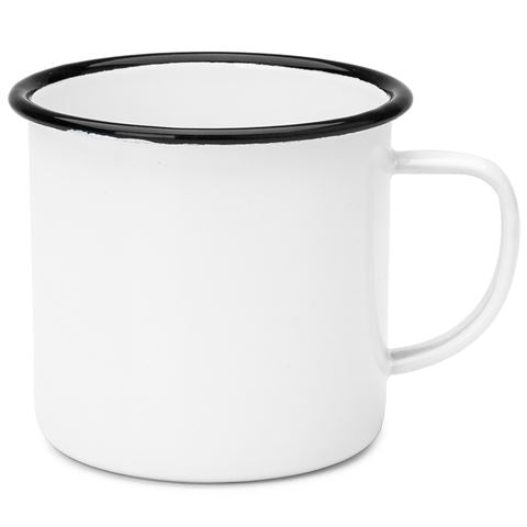 enamel mug - white/black rim - 8cm 350ml