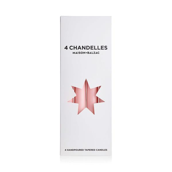 4 chandelles - tapered candles - pink