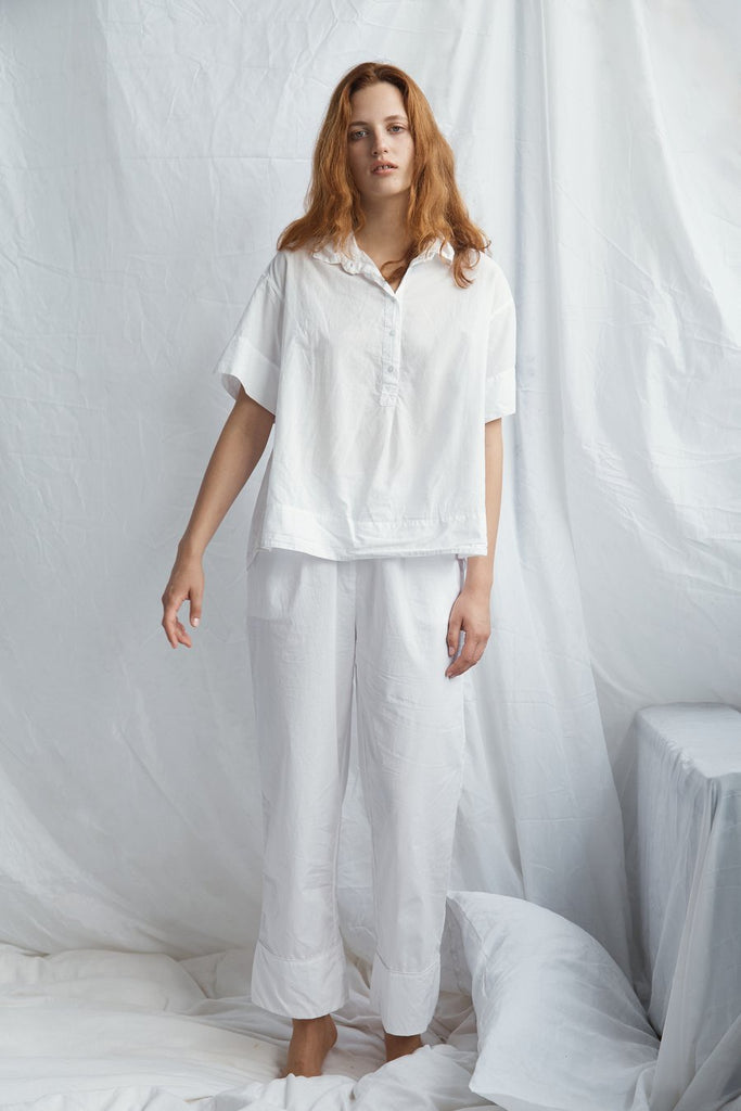 Cotton Drawstring Pant - White